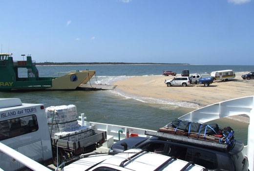 Vehicle access to Fraser Island by barge only.