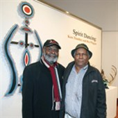 Ken Thaiday and Roy Wiggan attend the opening of the