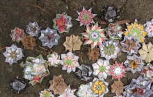 Tricia SMOUT, Scattered Offerings, 2011, origami with handmade and commercial papers.