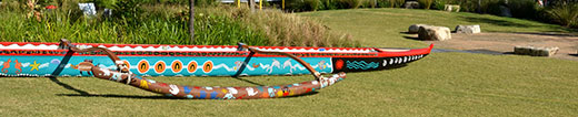 Outrigger for Indigenous crew to paddle
