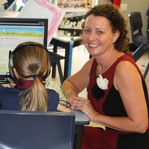 Pre-service teacher Gemma O'Brien in class at Sunshine Coast Grammar School