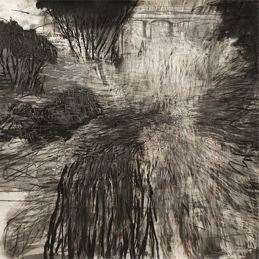 Keys Bridge in Flood - black and white abstract drawing of floodwater and bridge