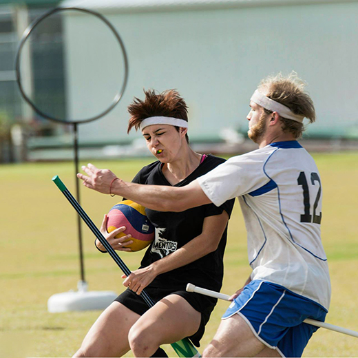 A USC competitor (black shirt) in the Quidditch tournament. Photo by Jackson Weaver Photography