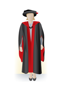 Doctor of Philosophy academic dress, front