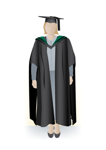 Masters academic dress, front