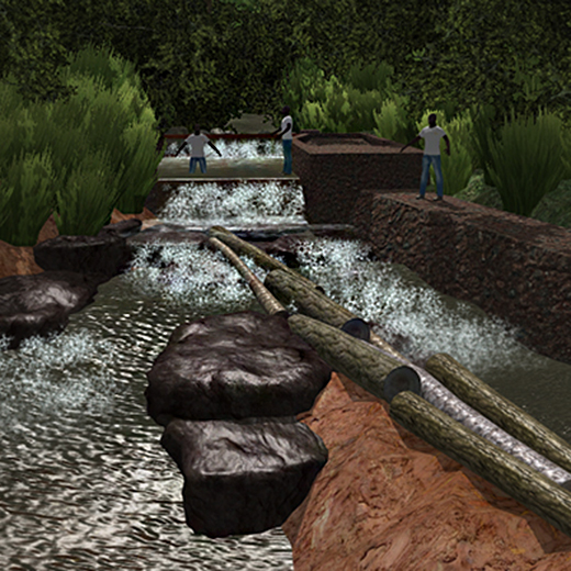 A screenshot of the 3-D visualisation of a creek near the Cameroon town of Bambui