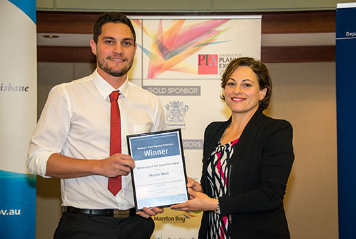 USC graduate, Mason West, wins the 2015 Planning Institute of Australia (PIA) Minister's Town Planning Prize for his Honours thesis.