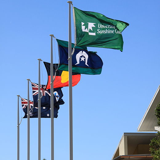 The Aboriginal and Torres Strait Islander flags are among those on display at USC