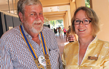 Rotary Club of Buderim President Rick Beasley with USC Disability Services Officer Colleen Dunn