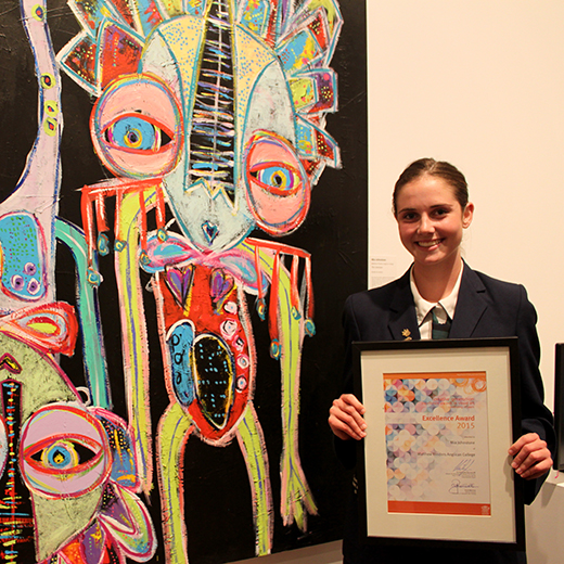 Matthew Flinders Anglican College student Mia Johnstone with her work The Unknown.