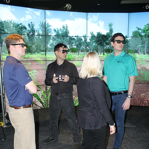 USC staff take a look at the University's Visualisation Lab.