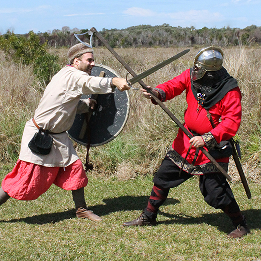 New Varangian Guard members Kris Demijanow and Justin Raethel re-enacting a Viking battle.
