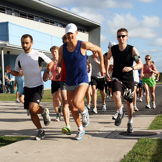 Athletes participating in a USC fun run.