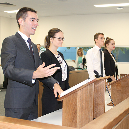 USC Law students using the Moot Court.