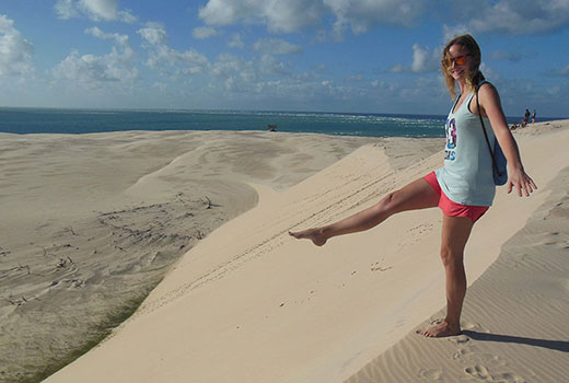 Study abroad student Patricia Selhorst at Sandy Cape, Fraser Island