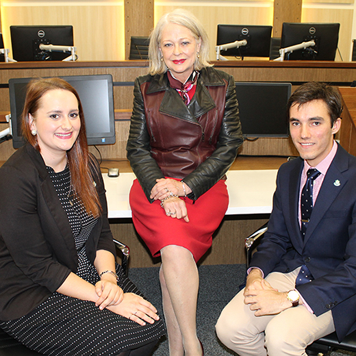 Justice Margaret McMurdo with Law students Jessica Popple and Michael Jefferies.