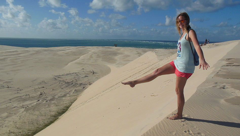 Study abroad student Patricia Selhorst at the Sandy Cape, Fraser Island