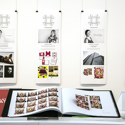 A photo from last year's #[Trending] exhibition of a portfolio by USC student Felicia St John.