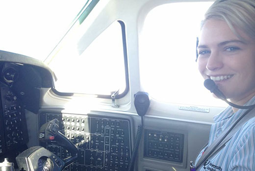 Jessica Holmes on a Royal Flying Doctor's Service flight