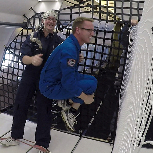 Dr Chris Askew becoming weightless aboard the parabolic flight in France.