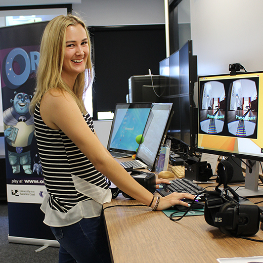 A USC student using technology at the University's Engage Lab.