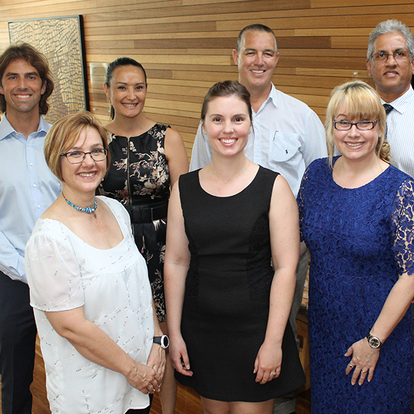 Vice-Chancellor's Awards for Excellence winners (back from left) Dr Tristan Pearce, Dr Nicole Masters, Dr Terry Lucke, Dr Selvan Pather and (front from left) Dr Retha Scheepers, Amanda Boyes and Dr Bridie Scott-Parker.