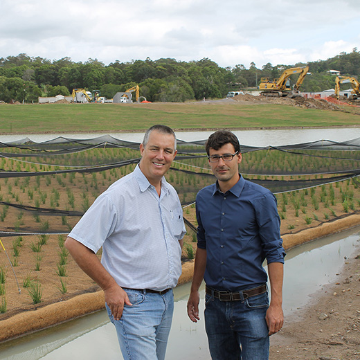 Peter Schwammberger with his principal supervisor, Head of USC's Stormwater Research Group Dr Terry Lucke.