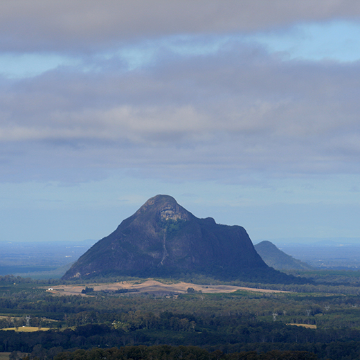 The Glasshouse Mountains in the Sunshine Coast hinterland.
