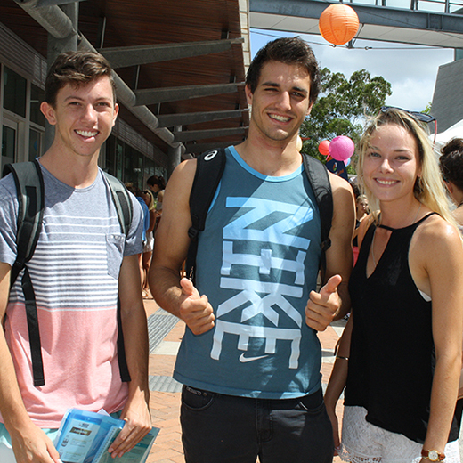 Aiden Smith, Mitch Chalmers and Rhonda Byrnes find their way around the University.