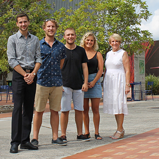 Philanthropist Jocelyn Walker, who bought 12 pavers for past recipients of her family's annual Vic Walker Memorial Scholarship as well as family members, with four of her scholarship recipients Fraser Clayton, Karl Wendt, Sam Gardiner and Sine McGregor.