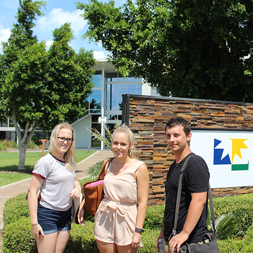 USC Fraser Coast students Alex Strano, Hayley Coyne and Courtney Wallace