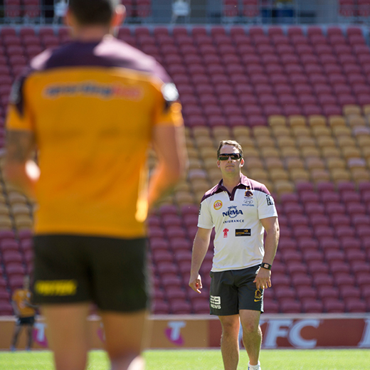 USC graduate Scott Barker attending a Brisbane Broncos training session.