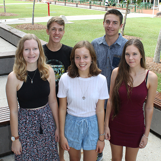 Sarah Best, Benjamin Murphy, Caitlin Mullane, Cory McMeekan and Zoe Biggar at the USC campus at Sippy Downs.