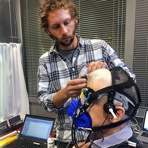 USC PhD student Timo Klein conducting a brain blood flow test in Germany for a research project into dementia.