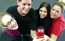 USC Journalism students Nicole Madden, Justin Bruhn, Georgina Murray and Fiona Willett enjoy being radio reporters and presenters with ABC Coast FM