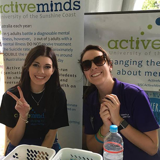 Second-year Psychology student Tayla Dokonal promoting Active Minds on campus at USC