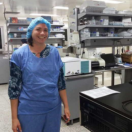 Dr Joanne Macdonald working in local laboratories on the research mission.
