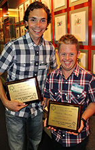 Motorcyling champion Chris Vermeulen and swimmer Clinton Stanley celebrate being inducted into the Sunshine Coast Sports Hall of Fame in 2013