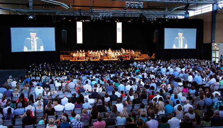 Graduation stage and audience in the Sports Stadium