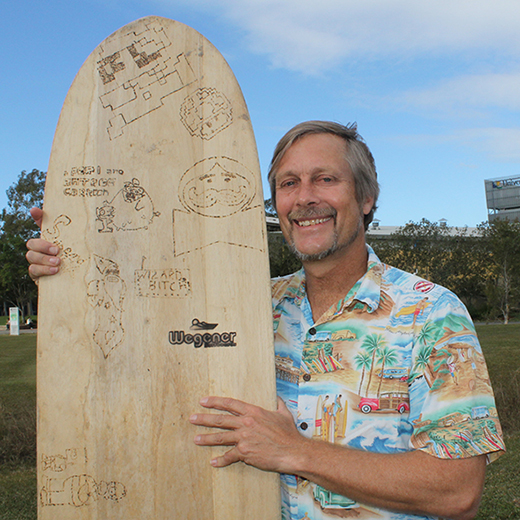 USC PhD student and renowned surfboard shaper Tom Wegener.