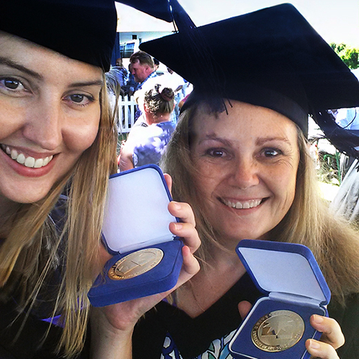 Amanda Norton and Rebecca McClure celebrating their recent graduation.