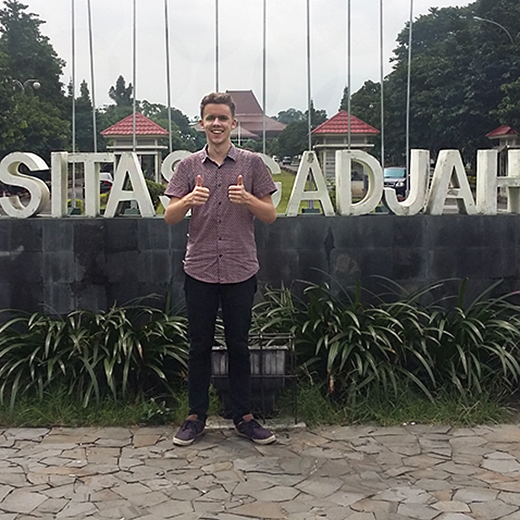 University of the Sunshine Coast graduate, Lachlan Haycock of Nambour, who is now undertaking Honours research in Yogyakarta, Indonesia.
