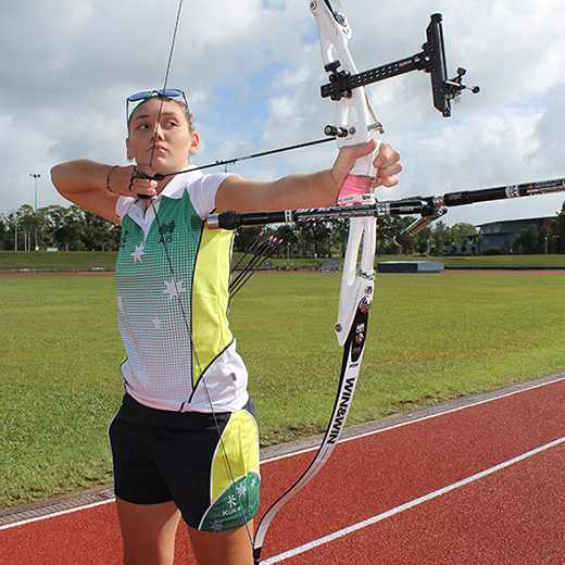 University of the Sunshine Coast graduate Chloe Grabs of Nambour who has made a name for herself at the World University Archery Championships.