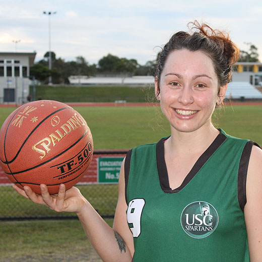 USC Gympie student MiaRose Bennett at her final USC Spartans basketball training session before the Northern Unigames.