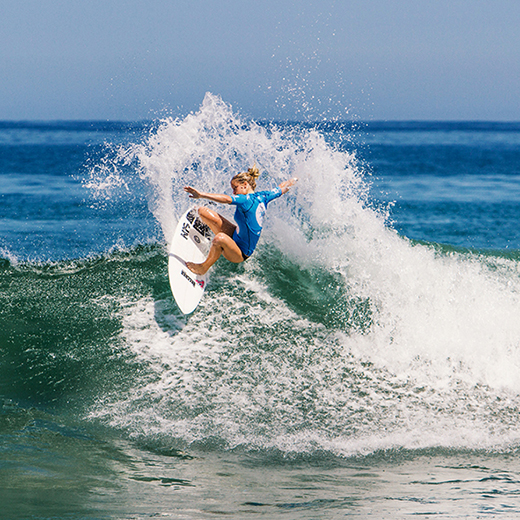 Sophie McCulloch competing at the Los Cabos Open of Surf in Mexico, where she won the junior title.