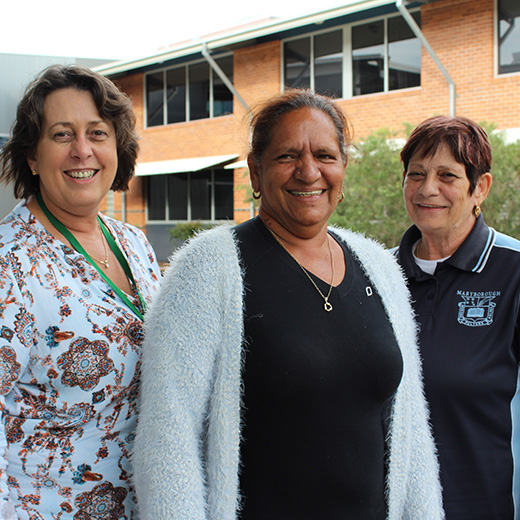 USC Senior Lecturer in Education Dr Sharon Louth, Butchulla elder Aunty Joyce Bonner and Aunty Harriet Vea Vea.