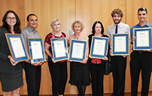 Award recipients are Associate Professor in Nursing Jennifer Rowe of Buderim,Communications academic Irene Visser of Marcus Beach,Professor of Agricultural Ecology Helen Wallace of Buderim, Lecturer in Health Promotion Dr Florin Oprescu of Mooloolaba,  International Projects Group Business and Development Manager Suzie Burford of Tanawha,ITS Business Systems analyst Shane Argo of Buderim andITS Business Systems analyst Ben Poole of Mooloolaba.
