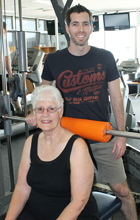 USC PhD student Vaughan Nicholson and research participant Wendy Coad in the USC Gym