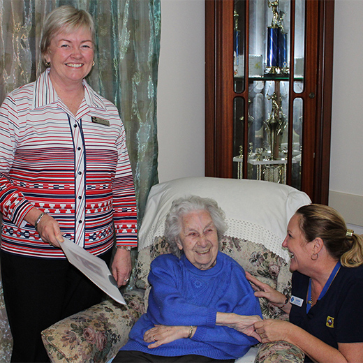 Senior Lecturer in Nursing at USC's Fraser Coast campus Julie Martyn (centre) with 95-year-old Ivy Boxall and advanced personal care worker Louise Gay