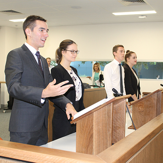 USC Law students using the University's Moot Court to develop their skills.